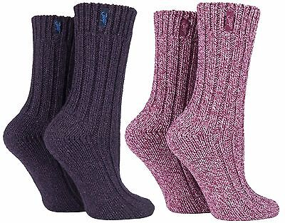 Jeep - 2 Pairs Ladies Womens Thick Knitted Wool Blend Hiking Walking Boot Socks