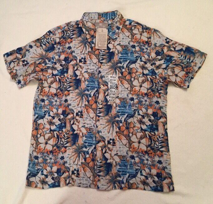Margaritville Cream bluee orange Floral SS Shirt, Size Medium, NWT