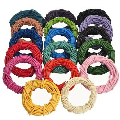 Hot 5 M Round Colorful DIY Real Leather Cord String For Bracelet Necklace