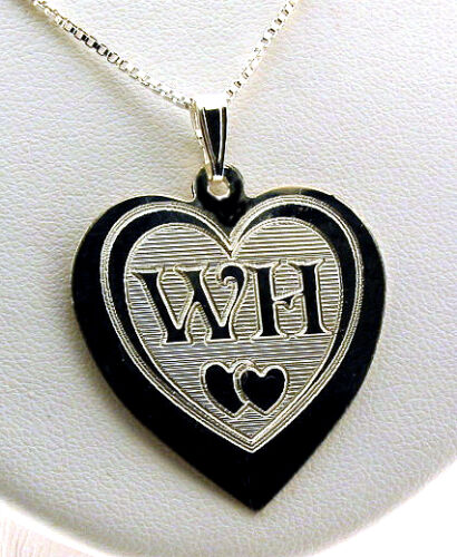 """Double Heart Monogram Initial Pendant w//Chain 16/"""" 18/"""" or 20/"""" 925 Silver"""