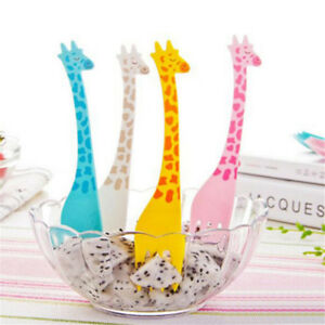 12Pcs-Giraffe-Shape-Forks-Fruit-Food-Cartoon-Plastic-Salad-Dessert-Fork-New-Tool