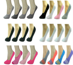 Ladies-Invisible-Socks-4-Pk-Womens-Girls-Trainer-Footsies-Shoe-Liners-Ballerina