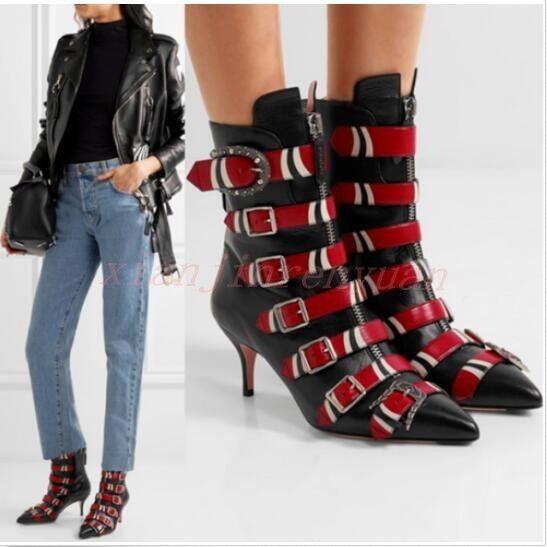 Women Shoes Toe Buckle Belt Leather Pointy Toe Shoes StilettoHeel Zip Punk Ankle Boots Hot 4d3489