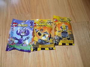Lego-Mixels-Yellow-41545-41546-Purple-41551-Series-6-lot-of-3-legos-Snax-Forx