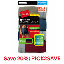 Hanes 5 Pack Men's TAGLESS Boxer Briefs Comfort Waistband, 20% off: PICK2SAVE