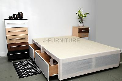 Single Double King Size Divan Bed Base In Cream 100
