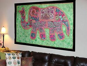 HANDMADE-ELEPHANT-BOHEMIAN-PATCHWORK-WALL-HANGING-EMBROIDERED-TAPESTRY-INDIA-X25