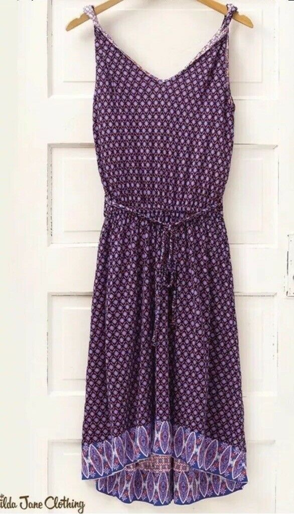 MATILDA JANE Wonderful Parade Summer Caravan Hi-Lo lila Print Dress MEDIUM