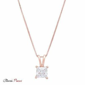 1-0Ct-Princess-Cut-14K-Rose-Gold-Solitaire-Pendant-Necklace-Box-With-16-034-Chain
