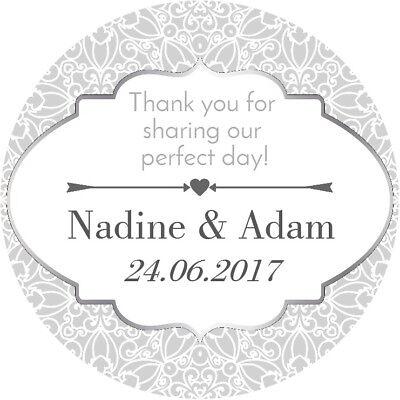 24 Festa Di Fidanzamento Matrimonio Personalizzato Favore Etichette Grazie Adesivi Argento-mostra Il Titolo Originale Grande Assortimento