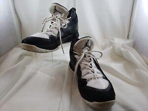 93812bf19400be Nike Air Jordan Flight Plate Black White Hi-Tops Sneakers Size Men s ...