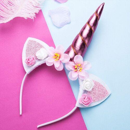 Girls Unicorn Flower Cat Ears Headbands Children Headwear Cute Photo Props Tools
