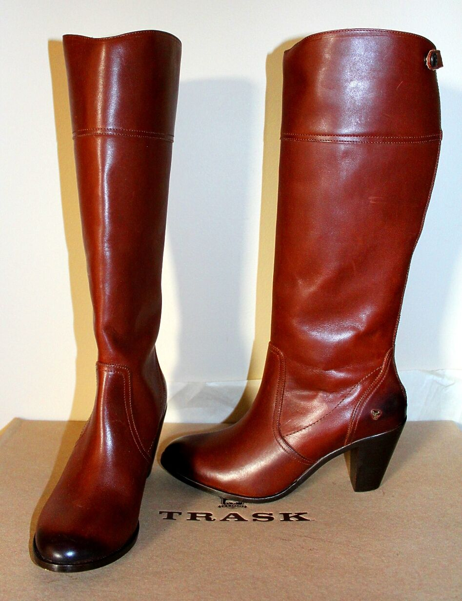 398 Womens  H.S. Trask Abbey Brown Full Grain Leather Tall Boot Size 9.5 NEW e540b2