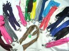 US SELLER-lot of 12 wholesale charm scarf necklace mixed designs of pendants