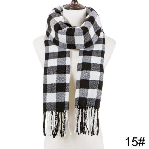 Mens Women Winter Warm Scarf Long Wrap Shawl Plaid Knit Scarf Scarves lattice