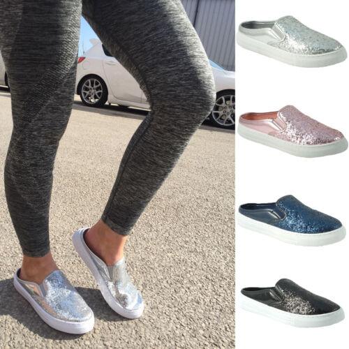Femmes Paillettes Slider Escarpins Baskets Slip on Metallic Baskets De Loisirs Chaussures Taille