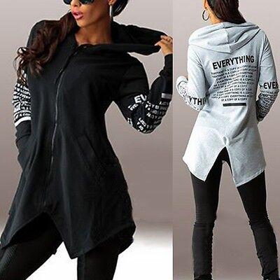 Women Long Sleeve Graffiti Hoodie Sweatshirt Casual Hooded Coat Pullover Jacket