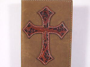 Leather-Cross-Sewn-On-Cowboy-Western-Checkbook-Cover-Wallet-Billfold-Checkbook