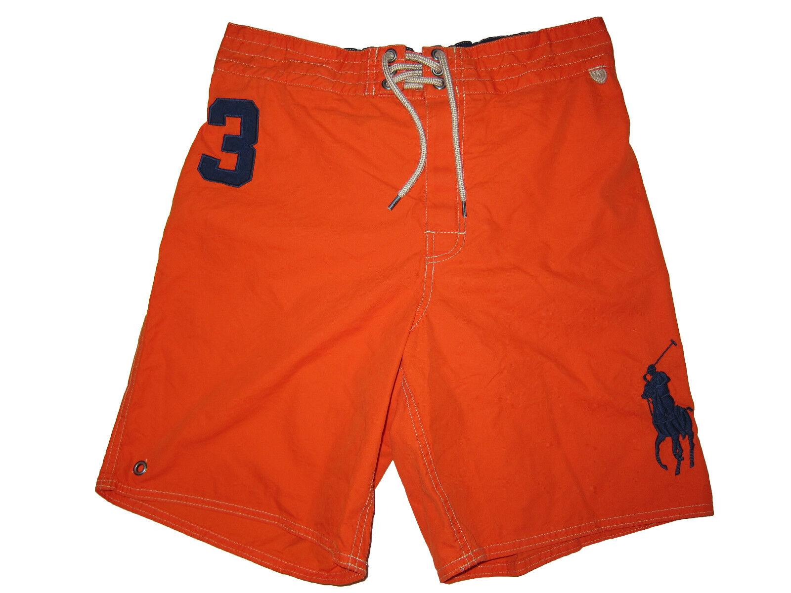 Polo Ralph Lauren orange Navy bluee Big Pony Swim Surf Board Shorts Suit Small
