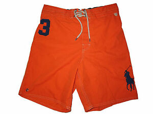 Image is loading Polo-Ralph-Lauren-Orange-Navy-Blue-Big-Pony-