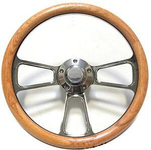 Oak-Steering-Wheel-for-1969-to-1988-El-Camino-SS-Horn-Full-Adapter-Kit