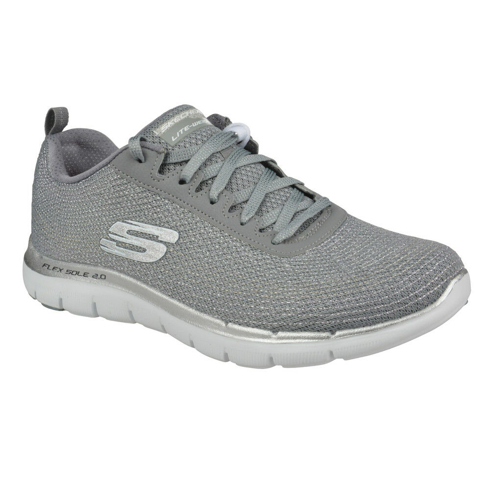 NEU SKECHERS Damen Sport Sneakers 2.0-METAL Memory Foam FLEX APPEAL 2.0-METAL Sneakers MADNESS Grau 9ef7ad