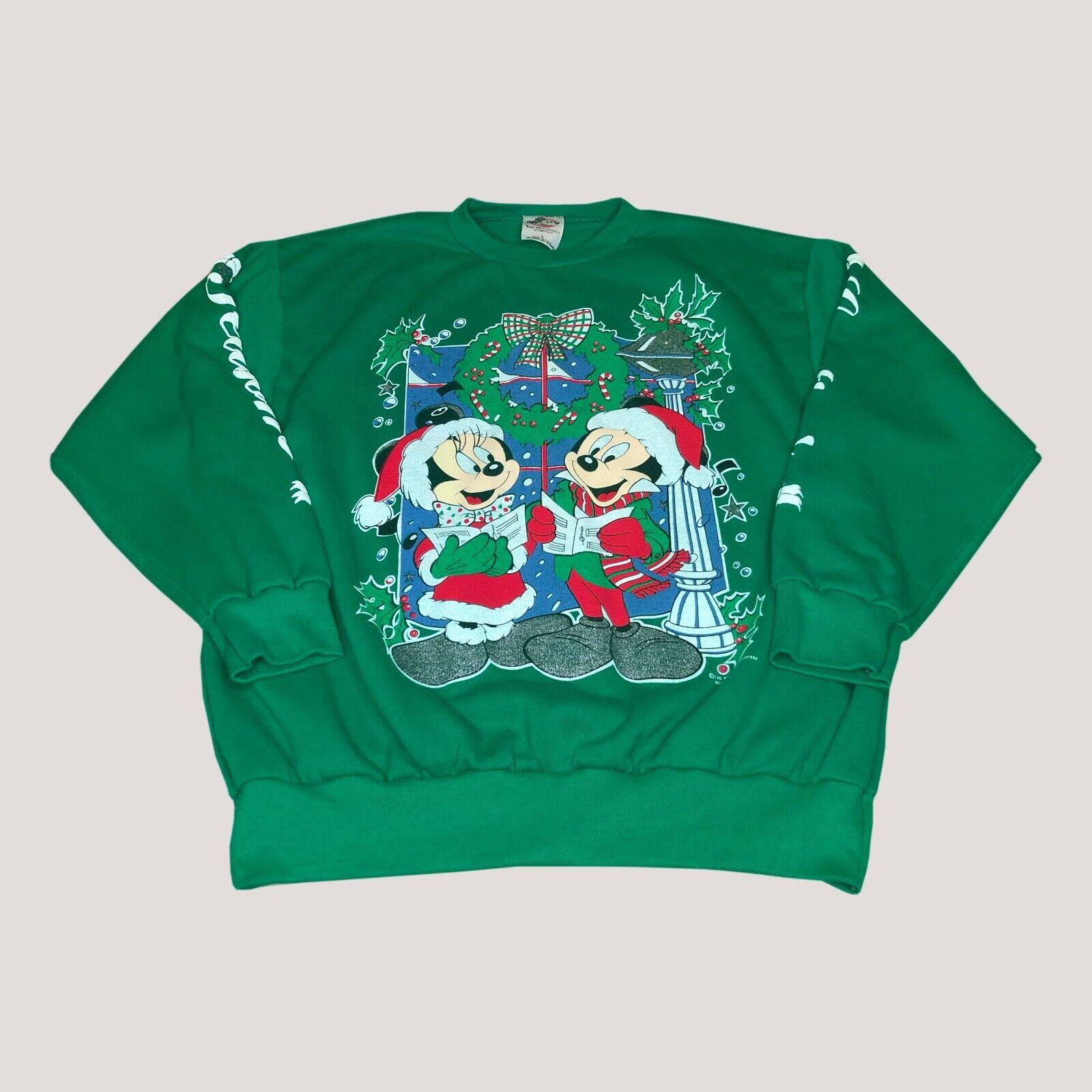 Vintage Mickey And Minnie Christmas Sweat Shirt Size Large Walt Disney Company