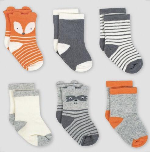 Fox Gerber 0-6 Months Baby Boy 6-Pair Socks—Raccoon Orange// Grey// White