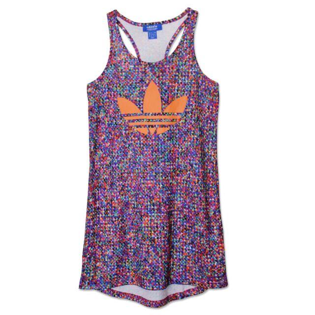dd1db0367c33 Adidas Originals Zx Flux Tank Colourful Dress Trefoil Beach Dress Long Top  36