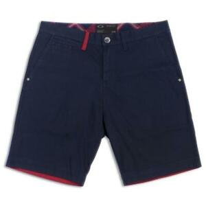 Oakley-Reunion-Navy-Red-Size-36-XL-Mens-Cotton-Casual-Shorts-Walkshorts