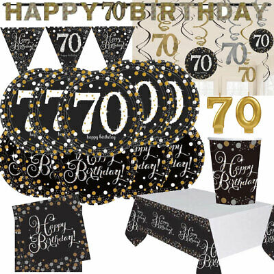 Happy 70th Birthday BLACK GOLD Sparkles Party Range Decorations Banners AGE 70