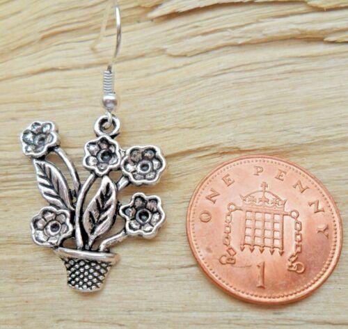 Flowerpot Potted Plants Flowers 3D Silver Effect Hook Earrings NEW