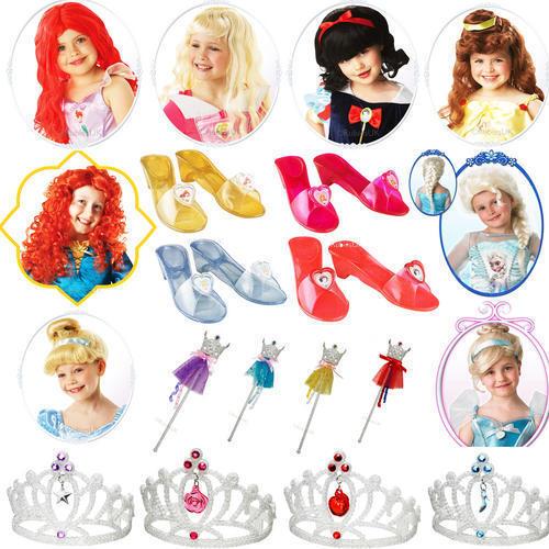 Childrens Disney Princess Fancy Dress Costume Accessories Wig Tiara Bag Wand Etc