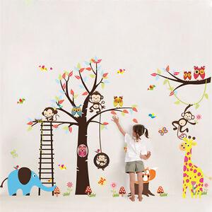 Animal-Zoo-Monkey-Jungle-Tree-Kids-Wall-Stickers-Home-Decor-Mural-Decal-Nursery