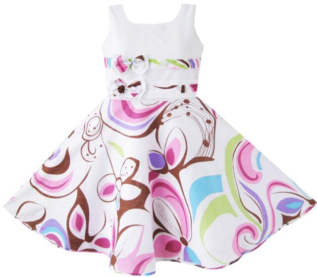 Sunny Fashion Girls Dress Purple Paisley Flower Print Double Bow Tie SZ 4-12