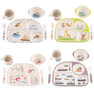 Image is loading 5pcs-set-Baby-Plate-Bowl-Cup-Forks-Spoon-  sc 1 st  eBay & 5pcs/set Baby Plate Bowl Cup Forks Spoon Set Kids Children Feeding ...