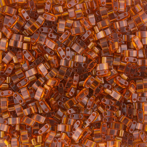 transparent dark amber HTL134 Miyuki HALF TILA® glass beads 5X2.3mm
