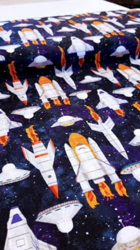 LOST IN SPACE cotton fabric Blank Quilting rocket shuttle galaxy stars craft