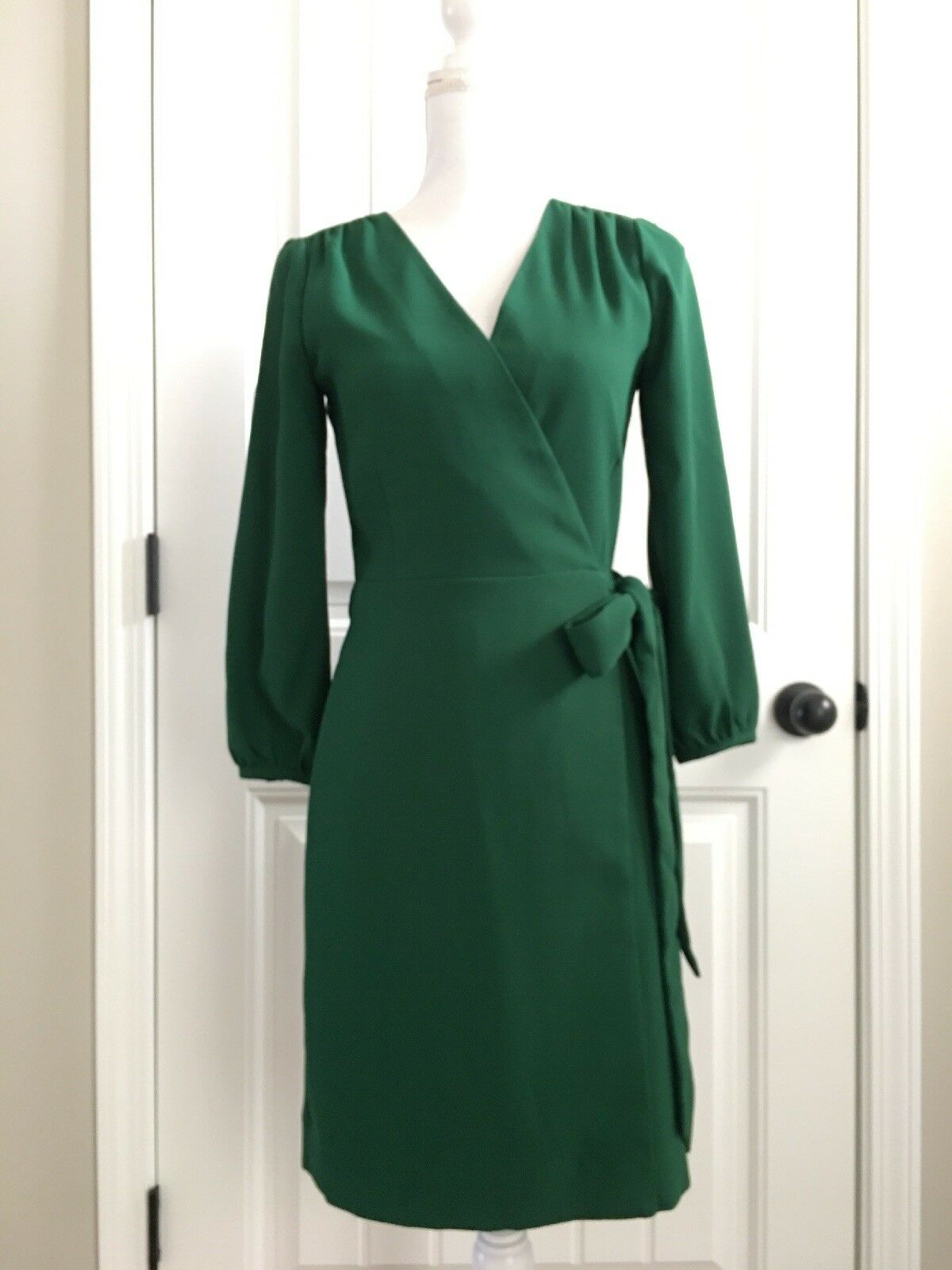 New J Crew Wrap Dress in 365 Crepe Grün Sz 00 H6292