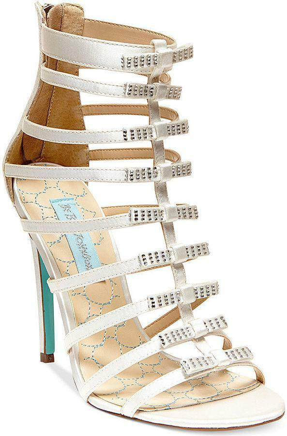 blueE BY BETSEY JOHNSON Tie NEW Size 6 Ivory Satin Caged Sandal  149