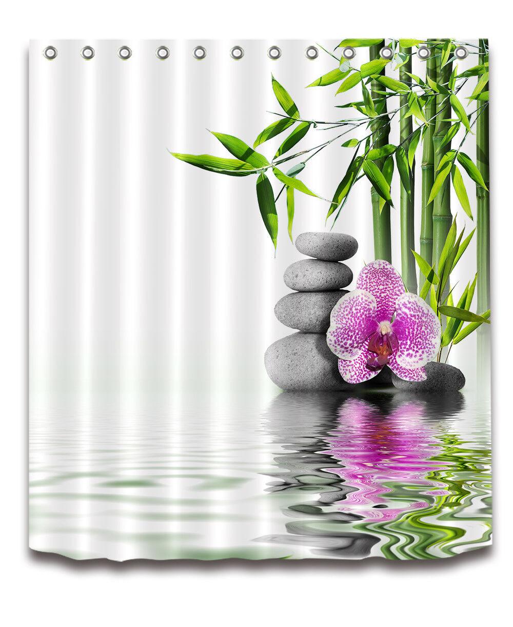 Purple Flower Bamboo Waterproof SPA Polyester Zen Shower Curtain Bath Mat 4991