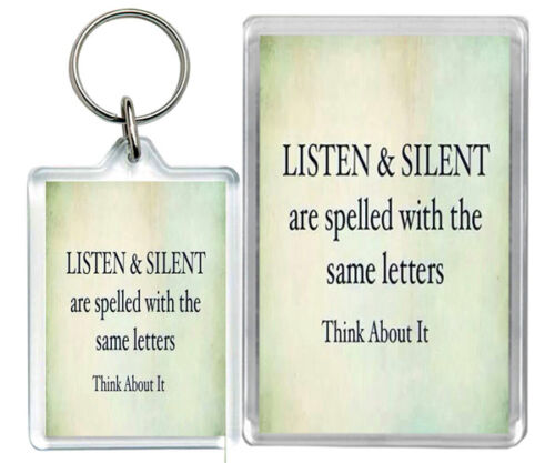 "/""Listen /& Silent.../"" Truth Coincidence Silence Keyring /& Fridge Magnet Gifts"
