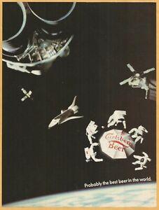 CARLSBERG-BEER-in-Space-1985-Vintage-Print-Ad