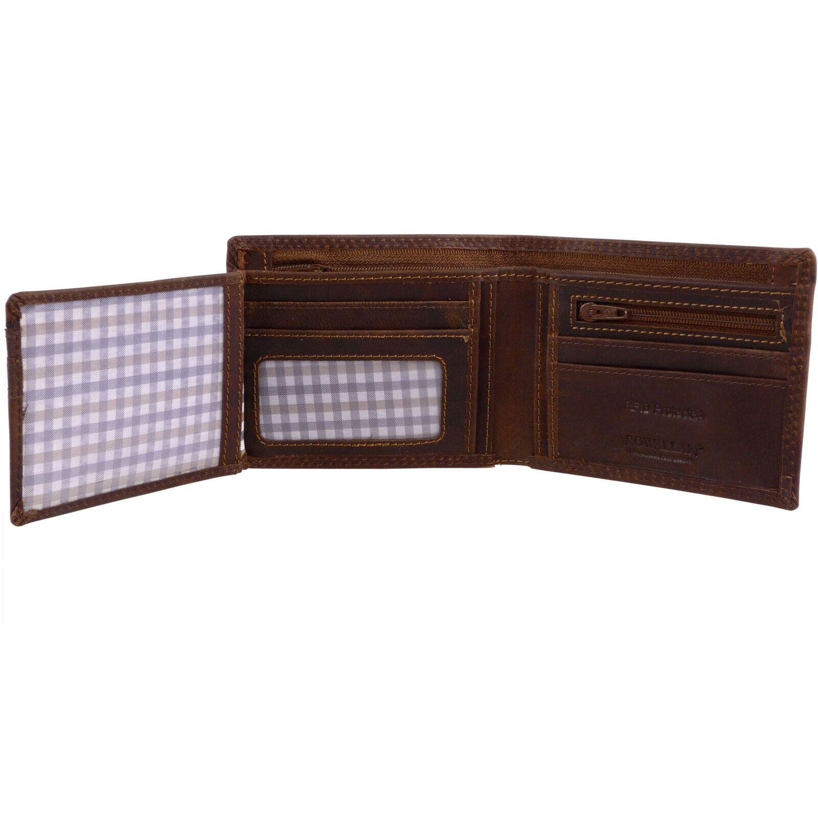 Mens Cow Hide Cognac Oiled Hunter Leather Bi Fold RFID Wallet Rowallan of Sco...