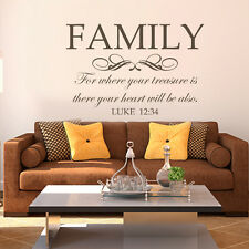 Wall Decal Christian Family For Where Your Treasure Scripture Quote Vinyl Decor