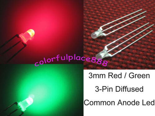 50pcs 3mm Dual Bi-Color Red//Green Diffused Bright 3-Pin Led Common Anode Leds