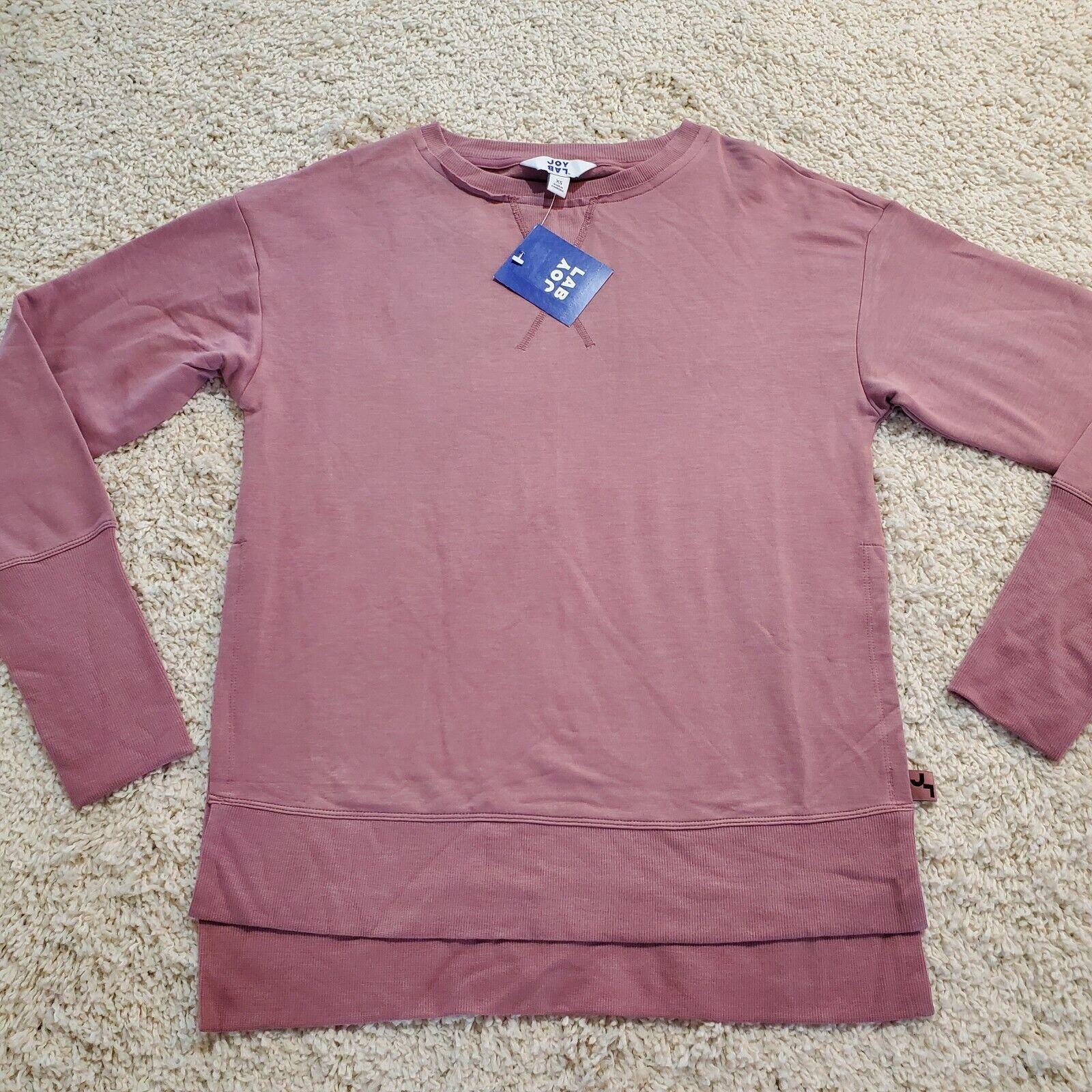 JoyLab Women's Cozy Side Slit Pullover Sweatshirt Rose XS JoyLab Pink Pullover