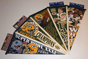 5-1996-Green-Bay-Packers-Super-Bowl-XXXI-pennants-lot-SB-31-Brett-Favre-Reggie