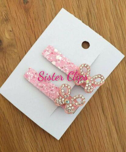 Girls Handmade 2 pretty pink bling butterfly Glitter mix Hair fringe clips