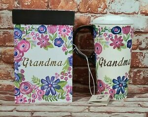 BNIB-500ml-Ceramic-Travel-Mug-Cup-Floral-Grandma-Print-Matching-Floral-Box